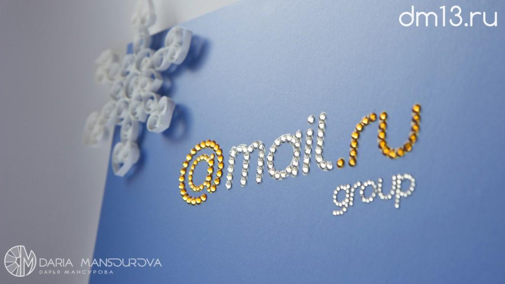 Логотип mail.ru в стразах Сваровски